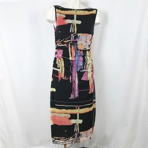Kay Unger sleeveless boat neck side ruched 10